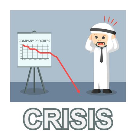 Arab businessman crisis photo text style