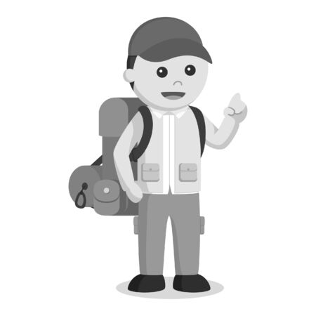 Hiker black and white style Stock Photo