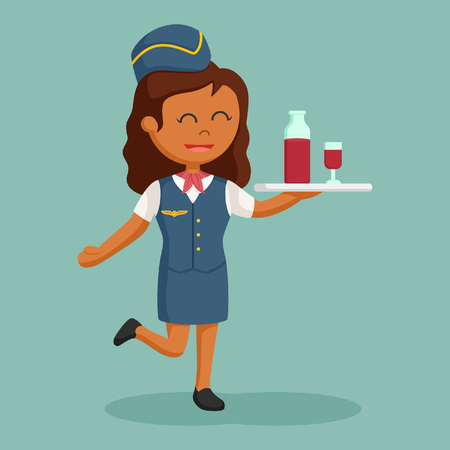 African stewardess with drinking tray