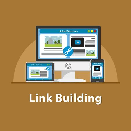 SEO Link building in various devices Stock Photo