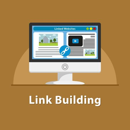 SEO Link building in PC monitor Stock Photo