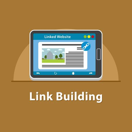 SEO Link building in tablet Stock Photo