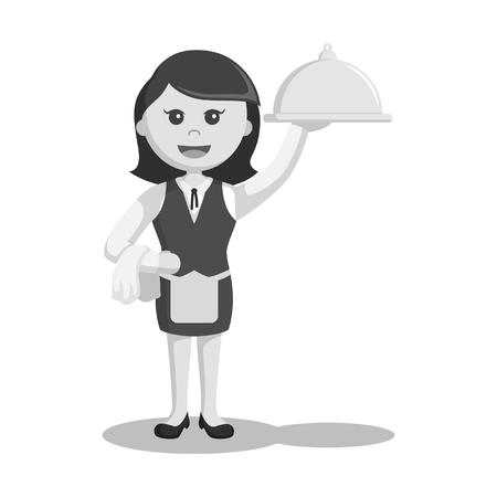waiter holding platter illustration design black and white style
