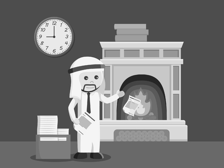 arab businessman burn his unused paper in fireplace black and white style Illustration
