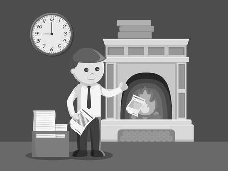businessman burning his document