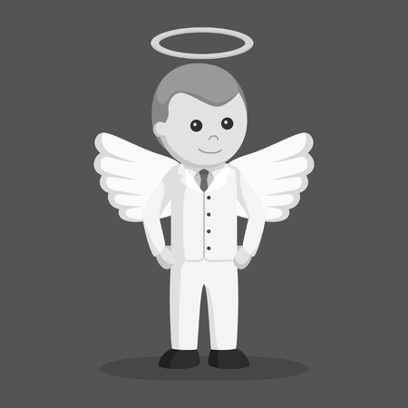 angel businessman standing pose black and white style