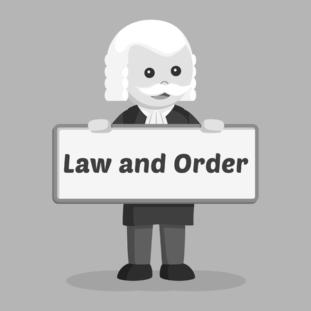 fat judge with civil law sheet black and white style