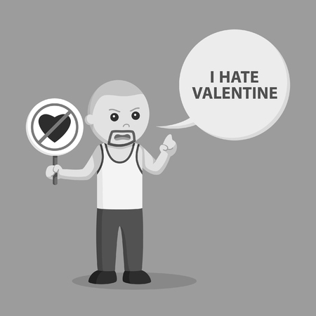 Bald man with sign no valentine and call-out black and white style Vectores