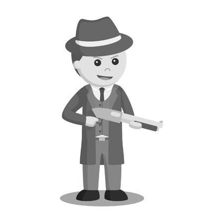 Mafia holding shotgun illustration design black and white style.