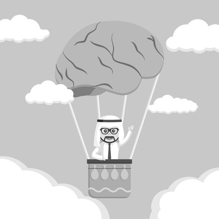Arabian man ride brain balloon black and white style