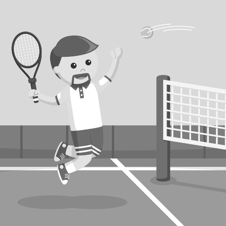 Tennis player smashing a ball black and white style