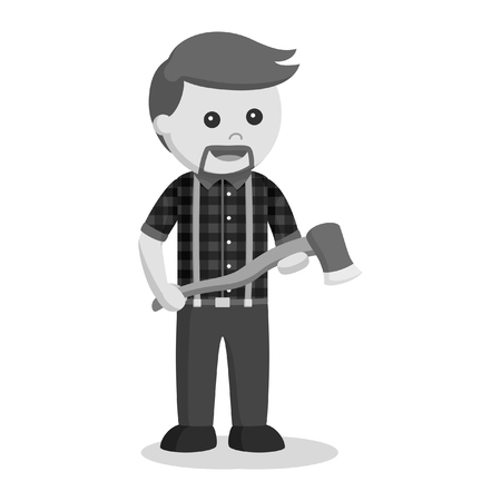lumberjack with axe black and white style
