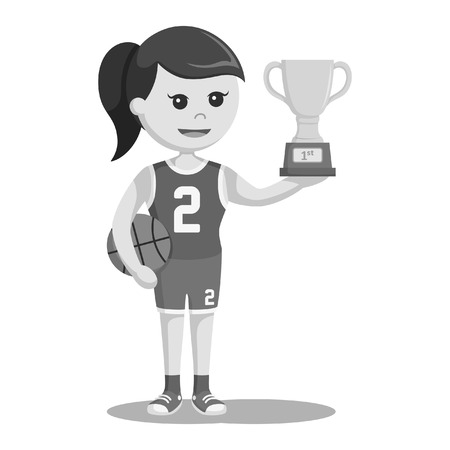 basket ball player girl with trophy black and white style  イラスト・ベクター素材