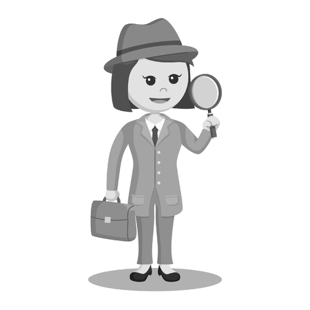 detective woman with briefcase and magnifying glass black and white style