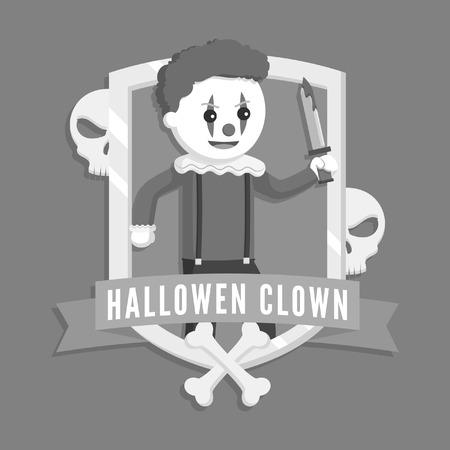 evil clown logo vector illustration design black and white style