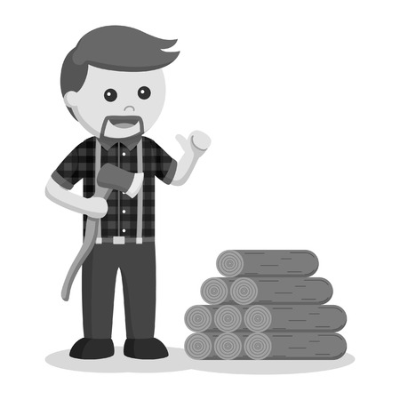 lumberjack with wood logs black and white style