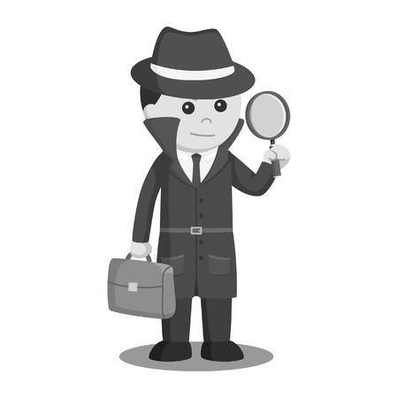 spy holding brief case and magnifying glass black and white style Stock Illustratie