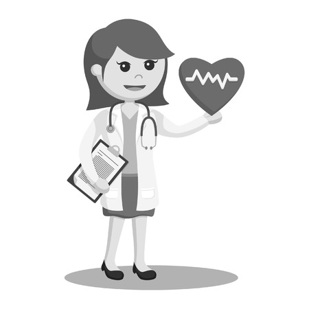 woman doctor with heartbeat black and white style
