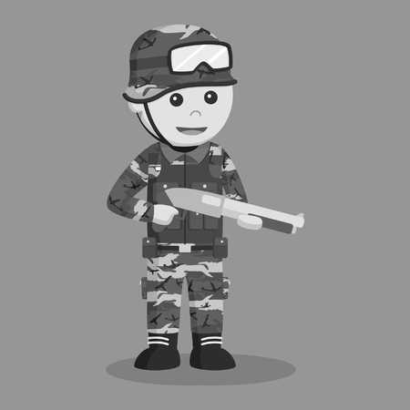 army man with shotgun black and white style  イラスト・ベクター素材