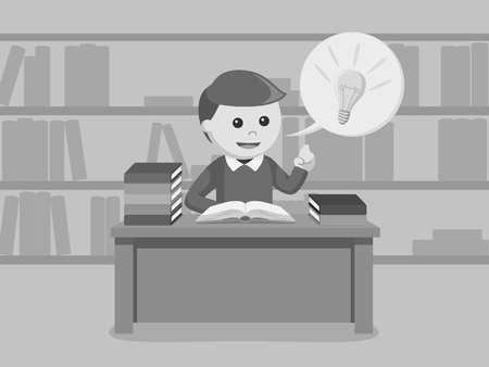 male student got idea while reading a book black and white style  イラスト・ベクター素材