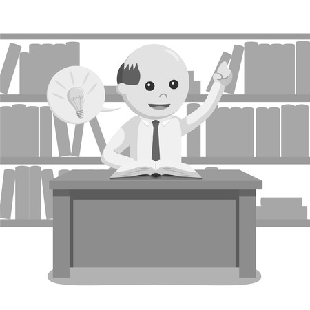 librarian male got idea black and white style
