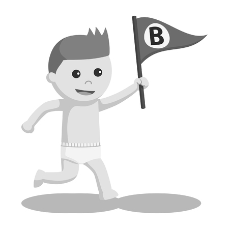 baby boy with b letter flag black and white style