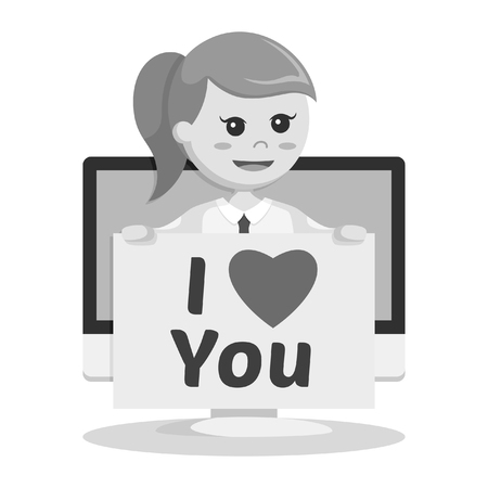businesswoman with love message pc pop up black and white style