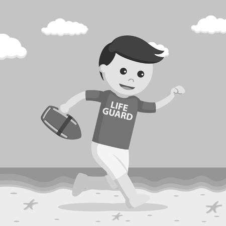 lifeguard running to rescue black and white style