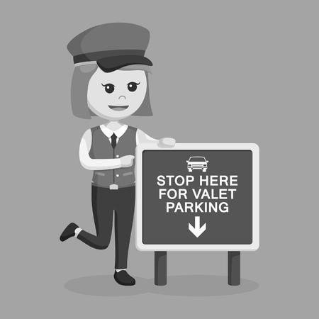 female valet standing beside sign black and white  イラスト・ベクター素材