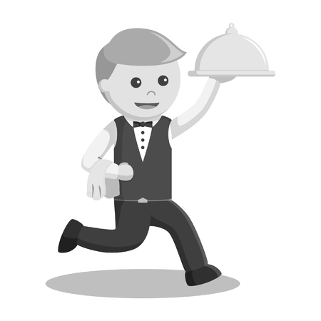 waiter running and holding platter black and white style
