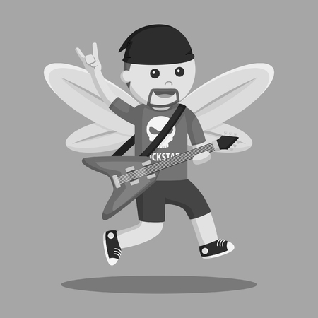 fairy male rockstar black and white style