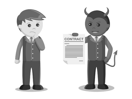 A businessman satan offering contract to another businessman in  black and white style  イラスト・ベクター素材