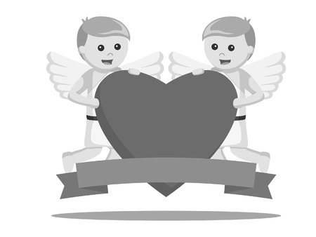Two cupids holding a big heart and banner 일러스트