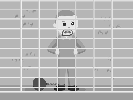 angry face prisoner in his cell black and white style