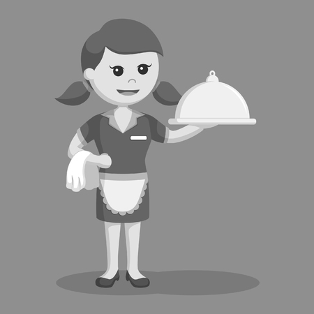 retro waitress with platter black and white style Illustration