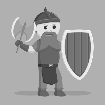 dwarf warrior with axe and shield black and white style