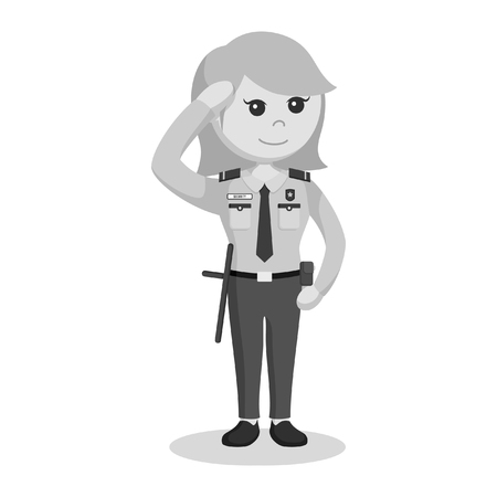 security officer woman giving salute black and white style  イラスト・ベクター素材