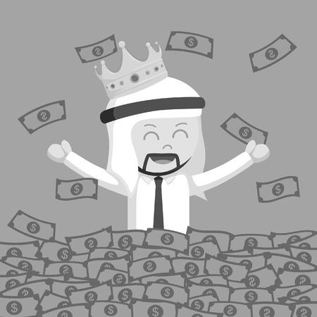 King arab businessman bath in money black and white style  イラスト・ベクター素材
