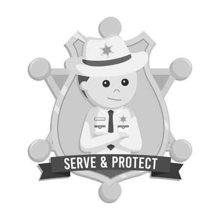 Sheriff emblem vector illustration design black and white style