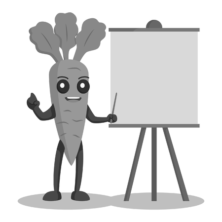 carrot character with blank presentation board black and white style  イラスト・ベクター素材