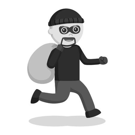 man thief running with sack black and white style  イラスト・ベクター素材