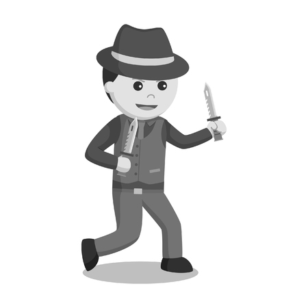 Mafia holding dual knife in black and white style illustration.