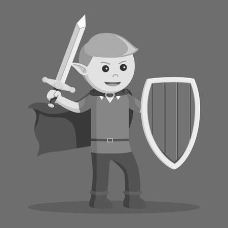 Elf with shield and sword in black and white style 일러스트