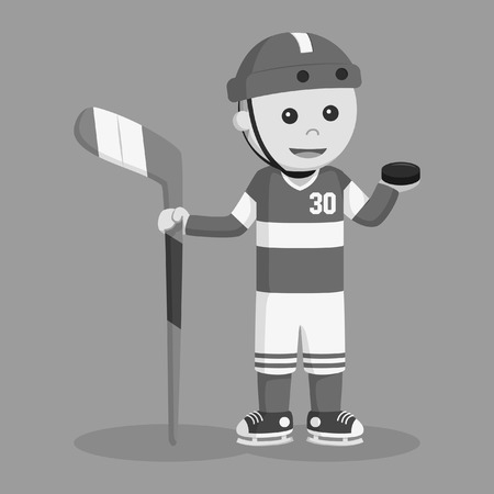 hockey player holding puck black and white style