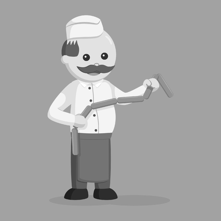 fat butcher man holding raw sausage black and white style