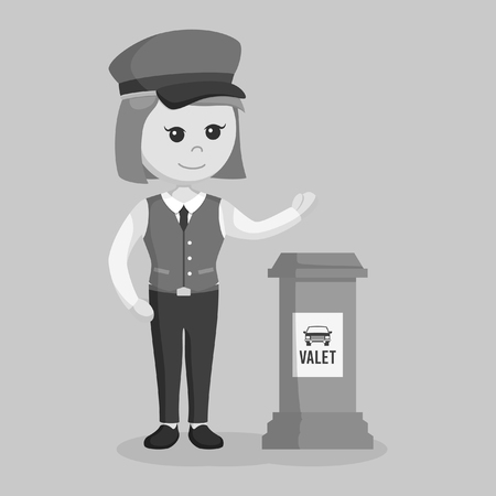 female valet giving welcome gesture black and white style  イラスト・ベクター素材