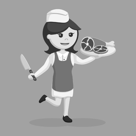 butcher woman with meat black and white style