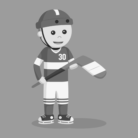 hockey player standing vector illustration design black and white style