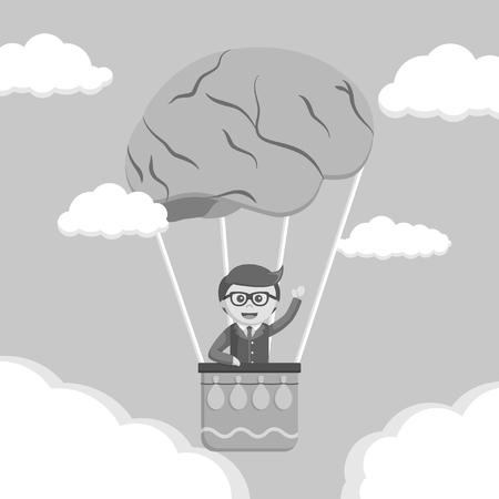 Businessman ride brain air balloon black and white style  イラスト・ベクター素材