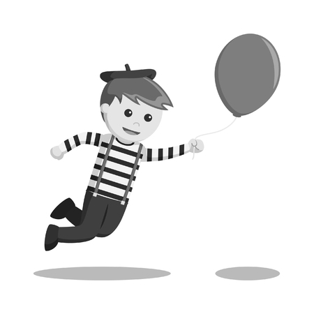 mime flying with balloon black and white style Illustration